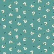 Papillon by Makower UK - 5156 - White Birds on Teal - 1761_T - Cotton Fabric